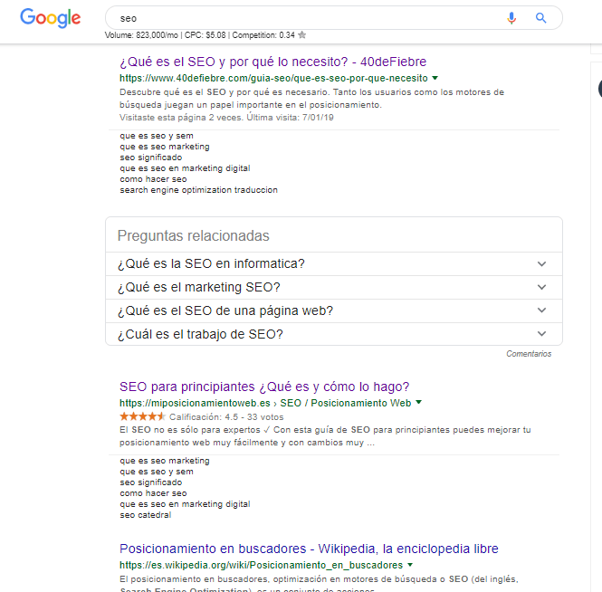 Posicionamiento en google SEO