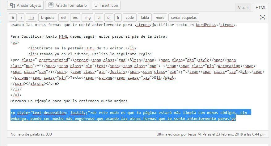 justificar texto en WordPress