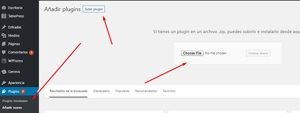 instalar plugin usando un zip file