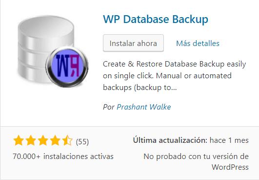 wpdatabasebackup