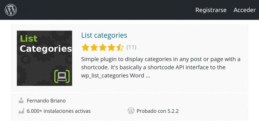 wordpress mostrar categorias en pagina